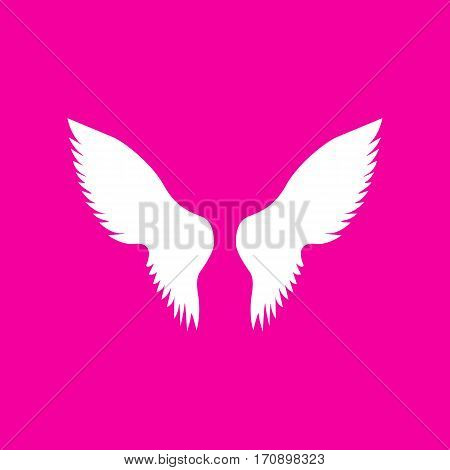 Wings sign illustration. White icon at magenta background.