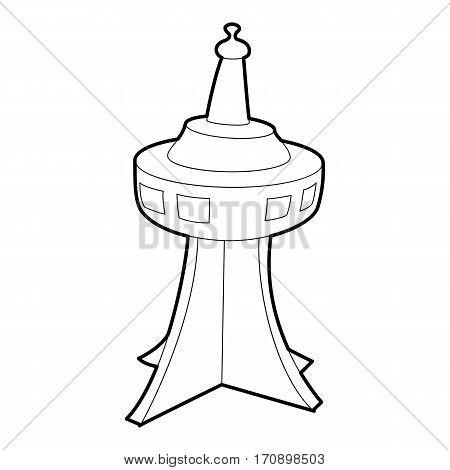 Television tower icon. Outline illustration of television tower vector icon for web