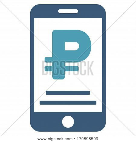 Rouble Mobile Payment vector pictograph. Illustration style is a flat iconic bicolor cyan and blue symbol on white background.