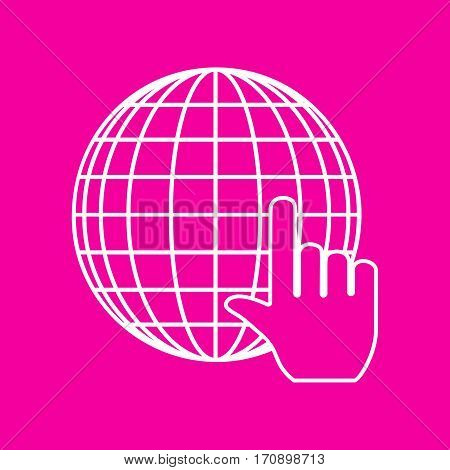 Earth Globe with cursor. White icon at magenta background.