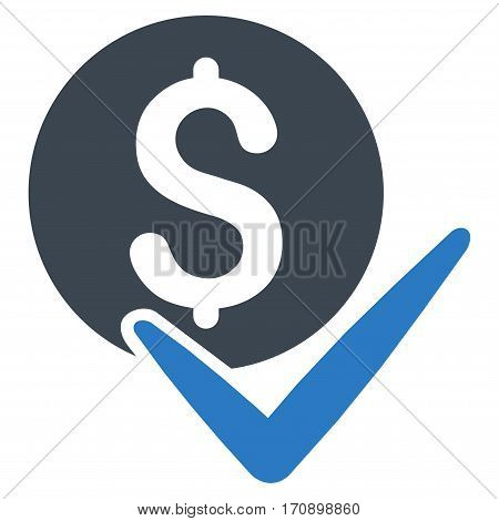 Accept Payment vector icon. Illustration style is a flat iconic bicolor smooth blue symbol on white background.