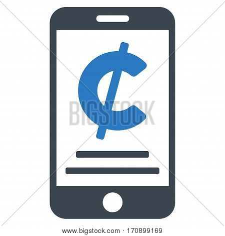 Cent Mobile Payment vector pictogram. Illustration style is a flat iconic bicolor smooth blue symbol on white background.