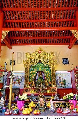 KUALA LUMPUR, JANUARY 10, 2017 - Kuan Ti Temple, built in 1888, a Taoist shrine that's dedicated to Guan Di, the Taoist God of War and Literature, Malaysia, Asia