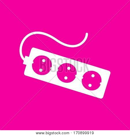 Electric extension plug sign. White icon at magenta background.