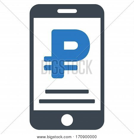 Rouble Mobile Payment vector pictograph. Illustration style is a flat iconic bicolor smooth blue symbol on white background.