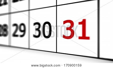 Thirty-first Day Of The Calendar