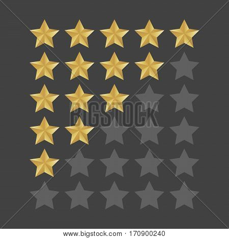 3D Five Stars Rating Icon Set. Isolated Quality Rate Status Level For Web Or App. Vector Illustratio