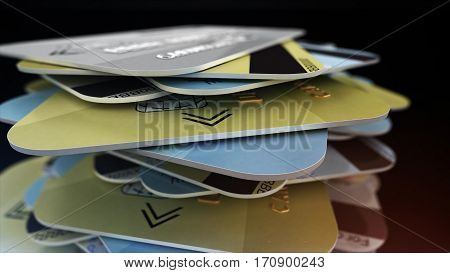 A Stack Of Colored Bank Cards.