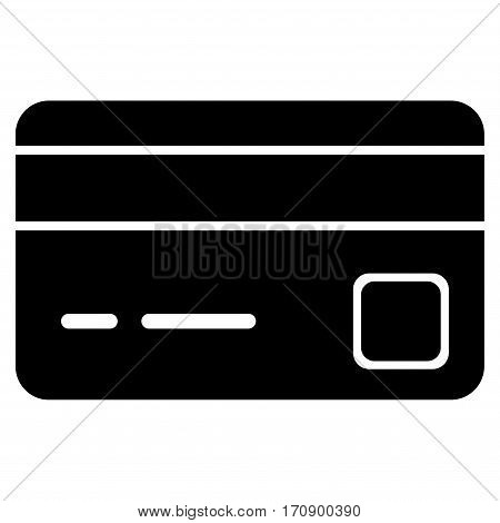 Bank Card vector pictogram. Illustration style is a flat iconic black symbol on white background.