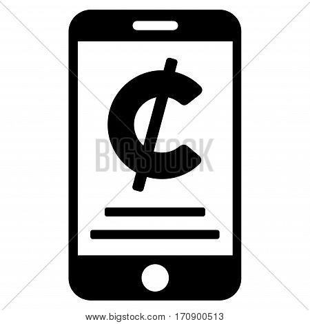 Cent Mobile Payment vector icon. Illustration style is a flat iconic black symbol on white background.