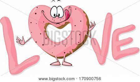 cute sweet donut heart shaped in love - vector illustration