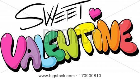 sweet valentine design - colorful letters on white