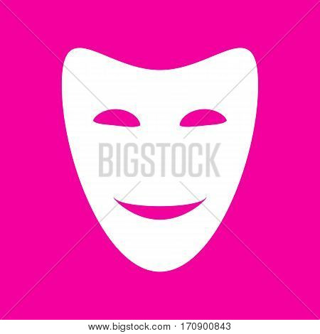 Comedy theatrical masks. White icon at magenta background.