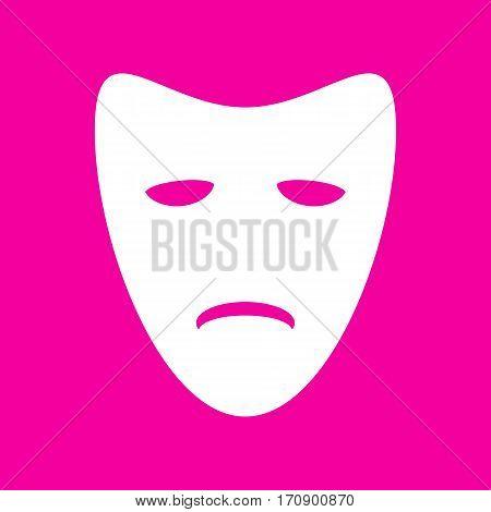 Tragedy theatrical masks. White icon at magenta background.