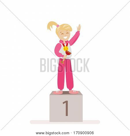 The girl took first place in sports. Award Ceremony Gold Medal winner. Flat character isolated on white background. Vector, illustration EPS10
