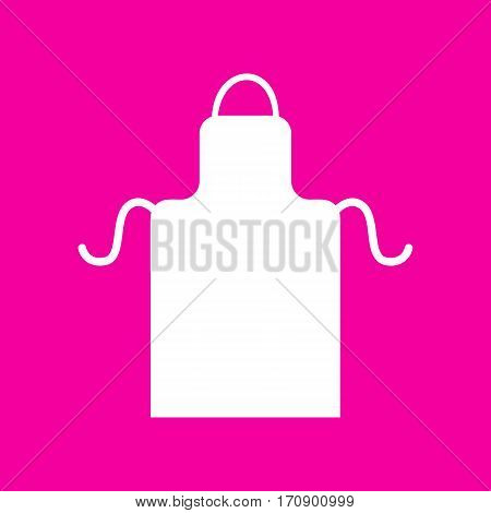 Apron simple sign. White icon at magenta background.