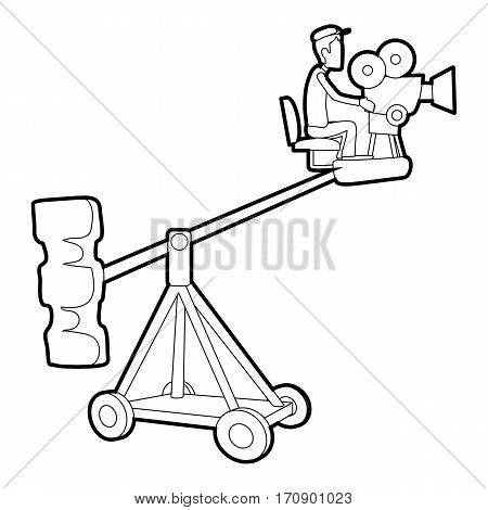 Difficult filming icon. Outline illustration of difficult filming vector icon for web