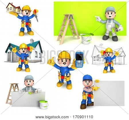 Lovable mascots can be used as great presentation of construction craft and handyman companies. High quality 3D isolated on white.