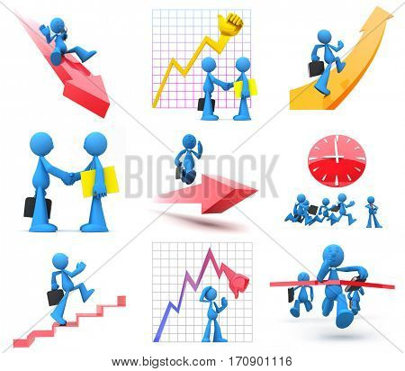 Businessmen presenting economic situations of growth, decline, good or bad time for business. Race for money and success, closing deals. Isolated on white.