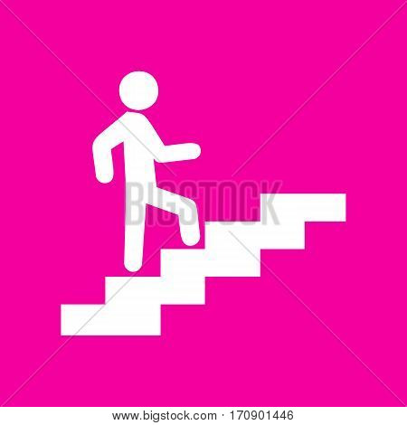 Man on Stairs going up. White icon at magenta background.