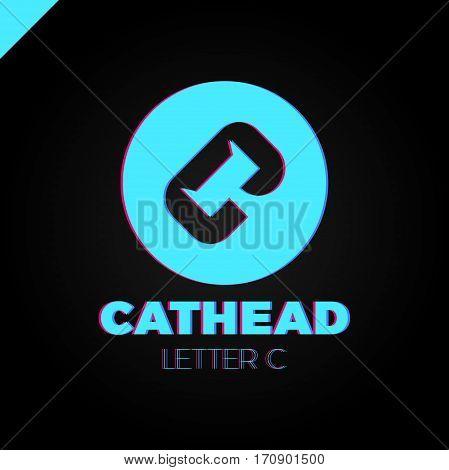 Cat Head Negative Shape On Letter C Logo