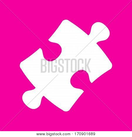 Puzzle piece sign. White icon at magenta background.