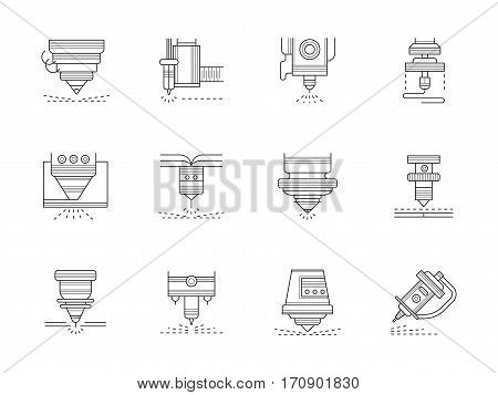 Different types of industrial lasers. Application of modern technologies in industry. Special equipment. Set of black flat line design vector icons.