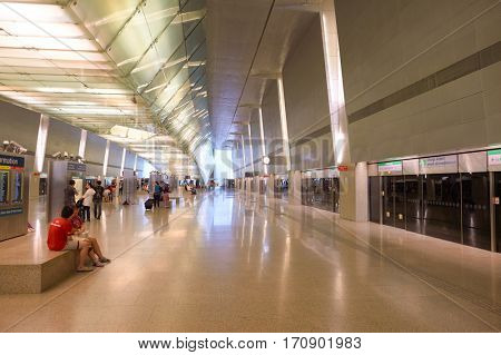 SINGAPORE - CIRCA NOVEMBER, 2015: MRT station at Changi Airport. MRT, is a rapid transit system forming the major component of the railway system in Singapore.