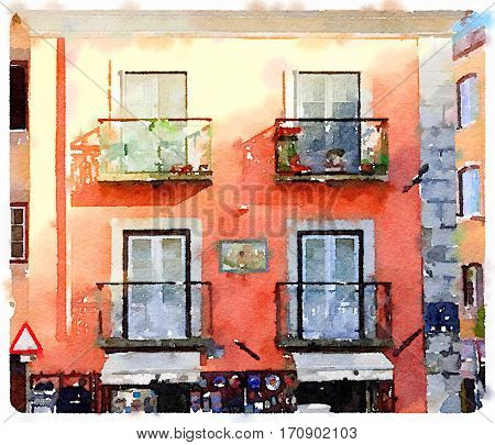 Digital watercolor painting of traditional colorful Portuguese flats with balconies and space for text.