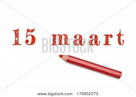15 Maart Text Sketch Red Pencil