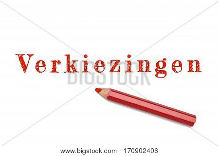 Verkiezingen Text Sketch Red Pencil