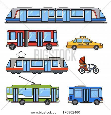Thin line flat design of city transport. Different kinds of city transport, taxi, motorbike, tram, metro, trolley bus and buses isolated on white background