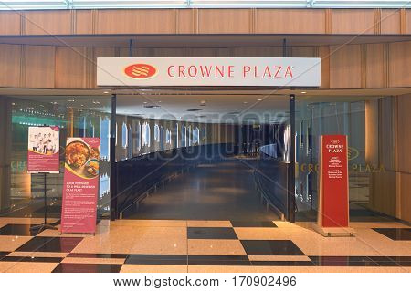 SINGAPORE - CIRCA NOVEMBER, 2015: Crown Plaza at Changi Airport. Crowne Plaza is a chain of full service, upscale hotels.