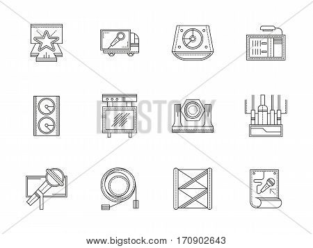 Symbol of stage and concerts equipment. Truss system, speakers, scene lighting and others. Musical festival, outdoor and indoor show. Set of black flat line design vector icons.