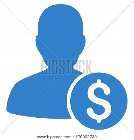 Investor vector pictogram. Illustration style is a flat iconic cobalt symbol on white background.