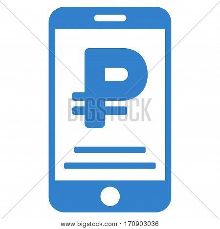 Rouble Mobile Payment vector pictograph. Illustration style is a flat iconic cobalt symbol on white background.