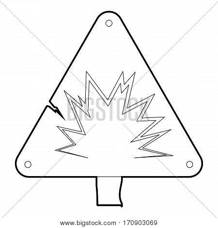 Danger sign icon. Outline illustration of danger sign vector icon for web