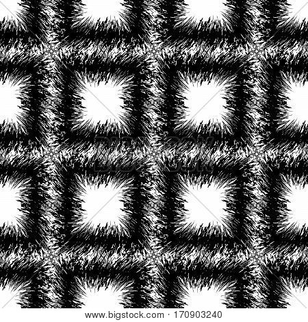 Square seamless black and white pattern rug with large squares of soft cloth