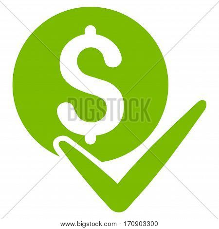 Accept Payment vector pictogram. Illustration style is a flat iconic eco green symbol on white background.