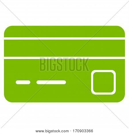 Bank Card vector icon. Illustration style is a flat iconic eco green symbol on white background.