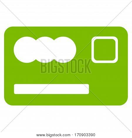 Banking Card vector icon. Illustration style is a flat iconic eco green symbol on white background.