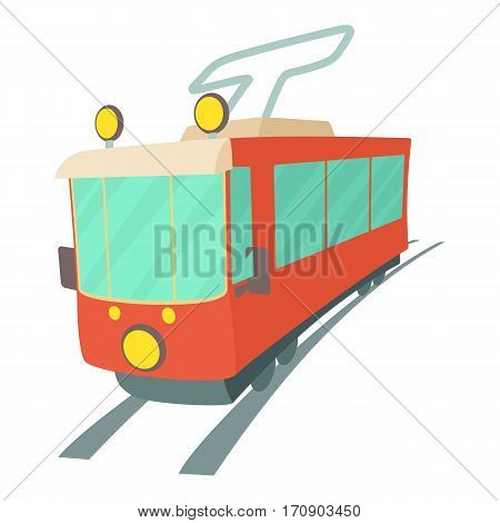 Tram icon. Cartoon illustration of tram vector icon for web
