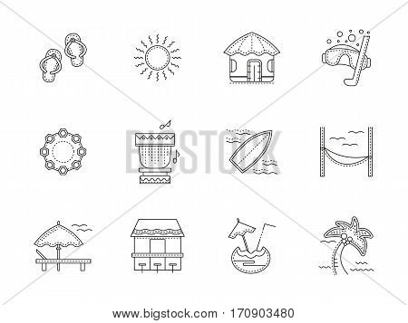 Elements and objects of Hawaii resort. Summer vacation on sea or ocean island. Tropical lounge, travel and tourism concept. Set of black flat line design vector icons.