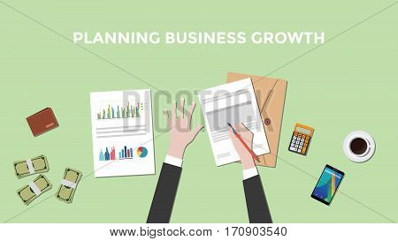 illustration of a man planning business growth with paperworks, calculator and money on top of table vector