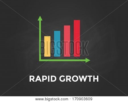 rapid growth chart illustration with colourful bar, white text and black background vector