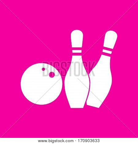 Bowling sign illustration. White icon at magenta background.