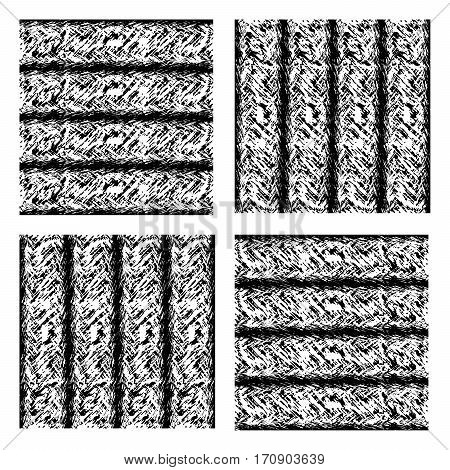 Set of seamless texture simulating striped wool carpet