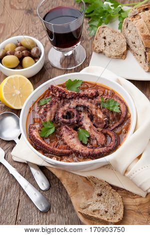 Octopus And Red Wine Stew