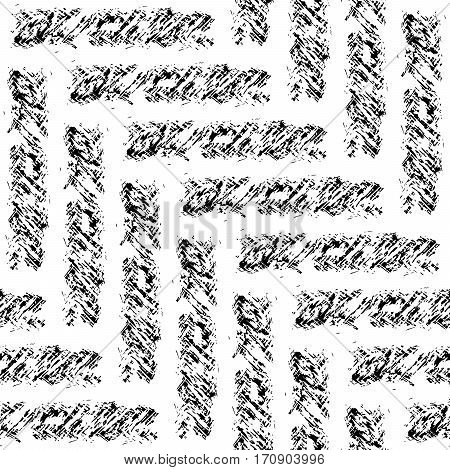 Seamless Chevron pattern texture in black and white in the form of transverse strips of rough cloth