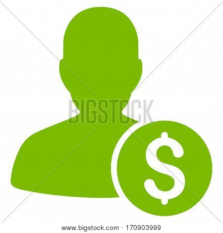 Investor vector pictograph. Illustration style is a flat iconic eco green symbol on white background.